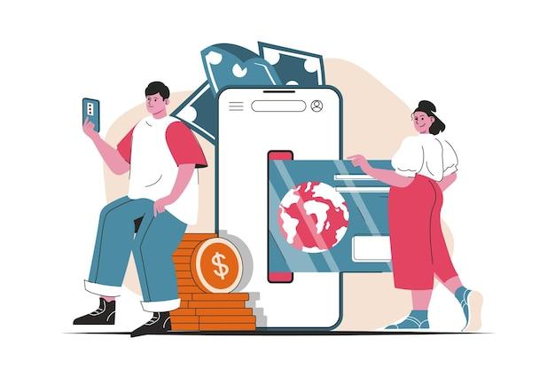 Conceito de banco móvel isolado. transações de dinheiro e pagamentos no aplicativo móvel. cena de pessoas no design plano dos desenhos animados. ilustração vetorial para blog, site, aplicativo móvel, materiais promocionais. Vetor Premium