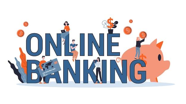 Conceito de banco móvel online. fazendo operações financeiras usando dispositivo digital. tecnologia sem fio moderna. transação de dinheiro eletrônico e pagamento móvel. ilustração