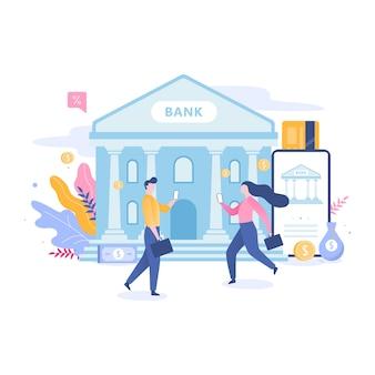 Conceito de banco móvel online. fazendo operações financeiras