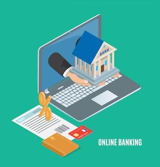 Conceito de banco on-line, banner de vetor de desenho animado