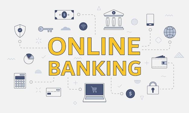 Conceito de banco on-line com conjunto de ícones com palavra ou texto grande na ilustração vetorial central