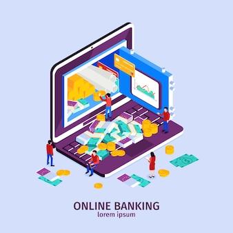 Conceito de banco on-line com símbolos de tecnologia moderna isométricos