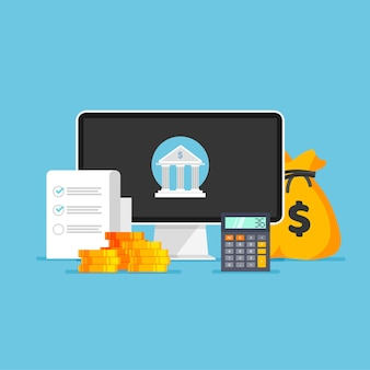 Conceito de banco on-line negócios de transação de dinheiro e pagamento móvel ícone do banco no monitor
