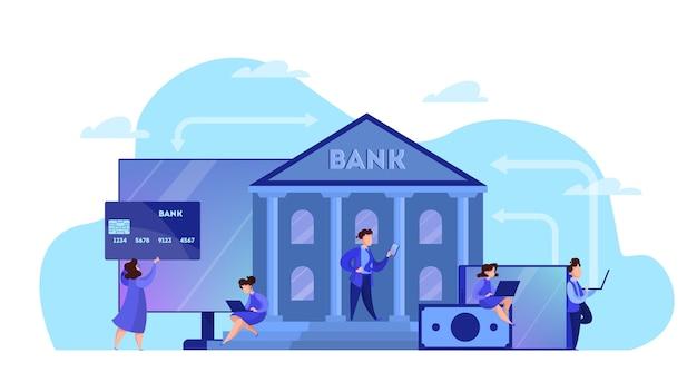 Conceito de banco online. fazendo operações financeiras