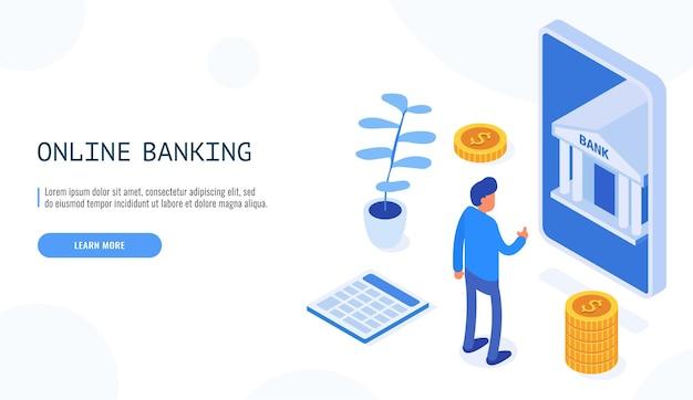 Conceito de banco online. homem olha para o banco móvel no telefone.