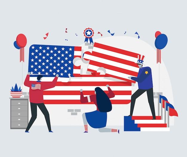 Conceito de bandeira do dia da independência de américa
