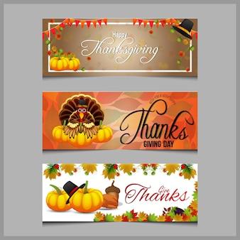 Conceito de banner com fundo de feliz dia de ação de graças