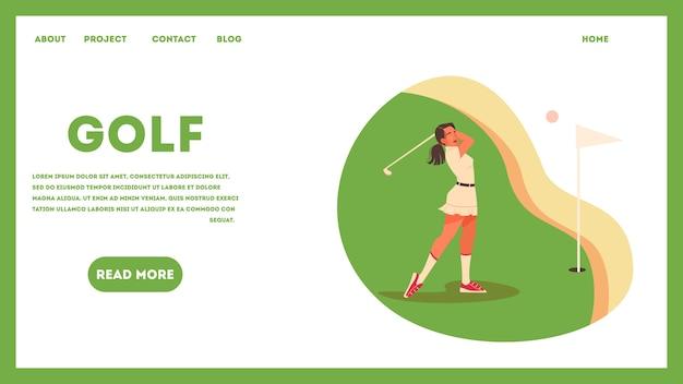 Conceito de banner da web com uma jogadora de golfe em campo verde. mulher segurando um taco de golfe e bater a bola. estilo de vida saudável ao ar livre. ilustração