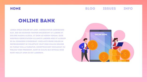 Conceito de banner da web de banco online. fazendo operações financeiras