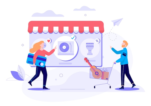 Conceito de banner da web de compras online. e-commerce, cliente à venda. ilustração em grande estilo