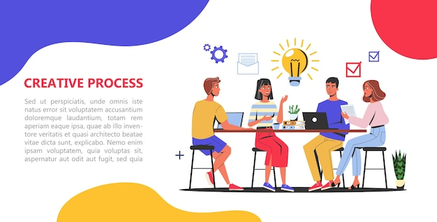 Conceito de banner da web de processo criativo. equipe de negócios