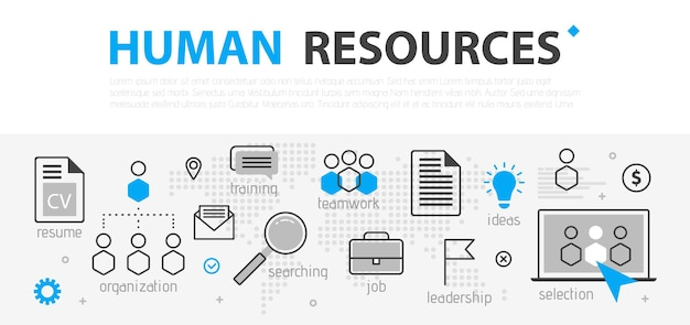 Conceito de banner da web de recursos humanos. conjunto de ícones de negócios de linha de contorno. equipe de estratégia de rh, trabalho em equipe e organização corporativa. ilustração template para sites, apresentação