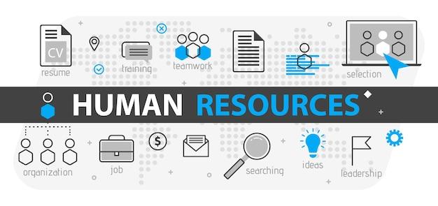 Conceito de banner da web de recursos humanos. conjunto de ícones de negócios de linha de contorno. equipe de estratégia de rh, trabalho em equipe e organização corporativa. modelo de ilustração vetorial para sites, apresentação
