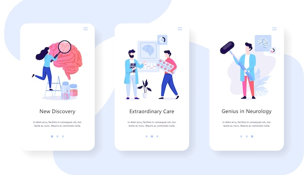 Conceito de banner da web móvel de neurologia. idéia de tratamento médico e atendimento médico. ilustração