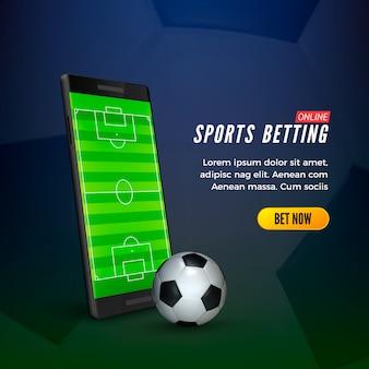 Conceito de banner da web online de apostas esportivas. telefone móvel com campo de socer na tela e bola.