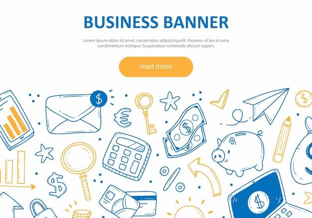Conceito de banner da web sobre o tema de negócios e finanças com modelo de elementos de doodle fofo