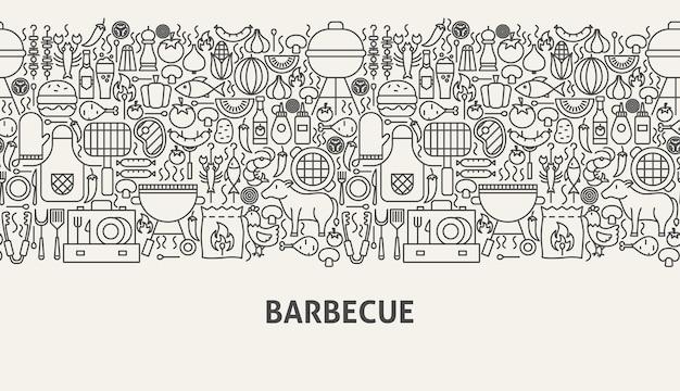 Conceito de banner de churrasco. ilustração em vetor de linha web design.