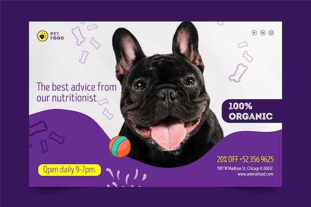 Conceito de banner de comida animal
