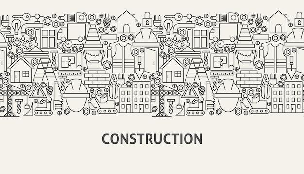 Conceito de banner de construção. ilustração em vetor de linha web design.
