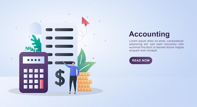Conceito de banner de contabilidade com calculadoras e relatórios em papel.