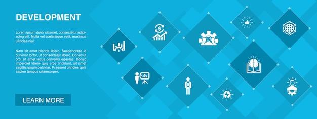 Conceito de banner de desenvolvimento 10 ícones. solução global, conhecimento, investidor, ícones simples de brainstorming