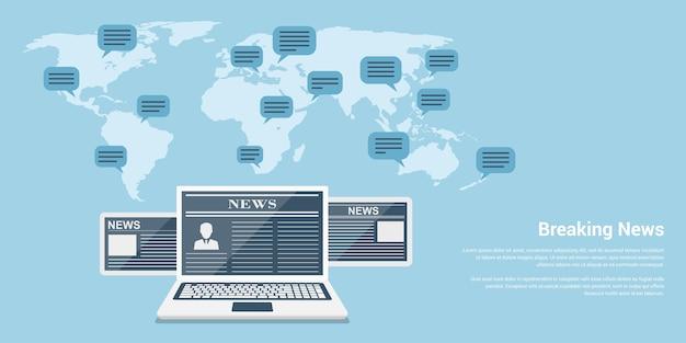 Conceito de banner de estilo de notícias de última hora, notebook e tablets com artigos de notícias e mapa-múndi com balões de fala