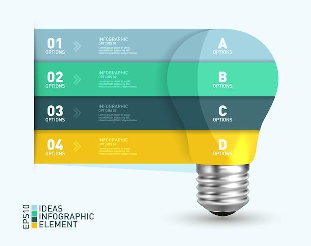 Conceito de banner de lâmpadas modelo infográfico