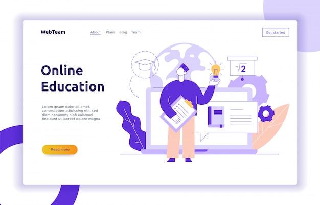 Conceito de banner de página da web de educação on-line de vetor