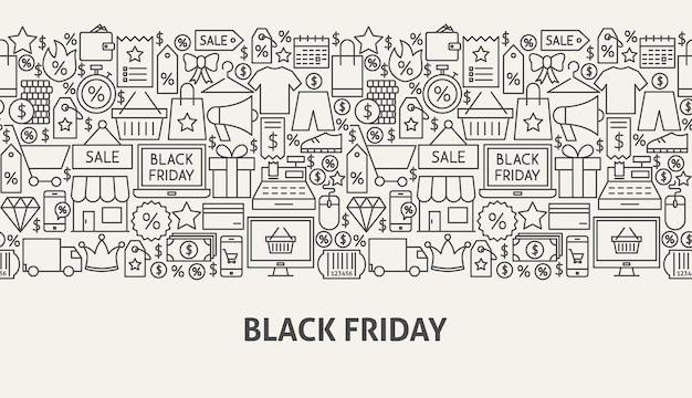 Conceito de banner de sexta-feira negra. ilustração em vetor de linha web design.