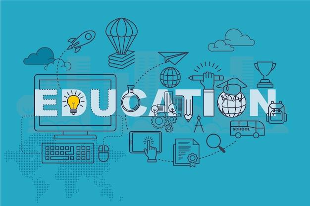 Conceito de banner de site de educação com design plano de linha fina
