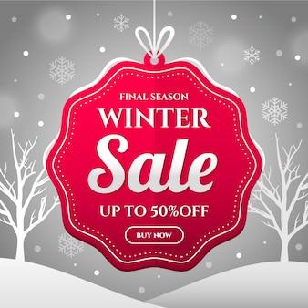 Conceito de banner de venda de inverno design plano