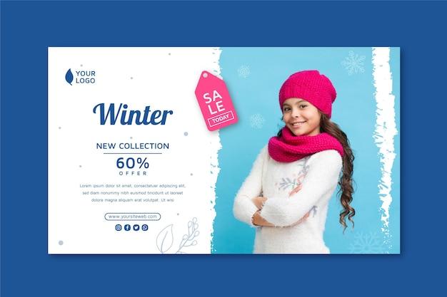 Conceito de banner de venda de inverno