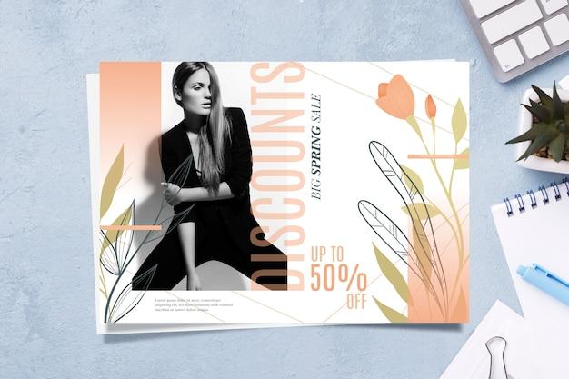 Conceito de banner de venda primavera com modelo