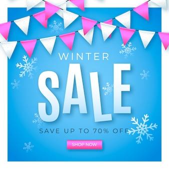 Conceito de banner de venda realista de inverno