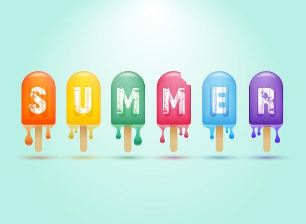 Conceito de banner de verão colorido picolé