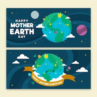 Conceito de banner dia da mãe terra desenhados à mão