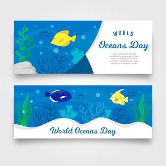 Conceito de banner do dia mundial dos oceanos