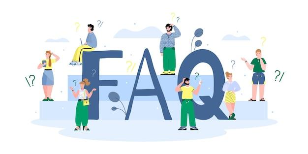 Conceito de banner faq de questionário e dando informações para usuários do site e clientes com ilustração vetorial de pessoas dos desenhos animados, isolada no fundo branco.
