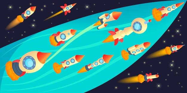 Conceito de banner horizontal de corrida de foguetes