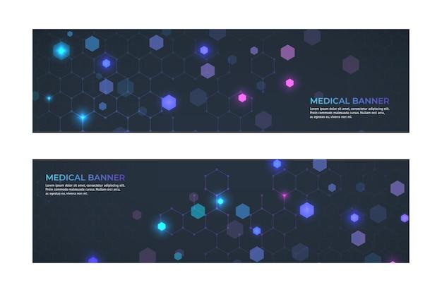 Conceito de banner médico. banners abstratos de emergência de serviço e ambulância de medicina.