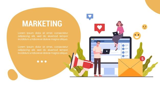 Conceito de banner web de estratégia de marketing. conceito de publicidade e marketing.