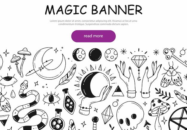 Conceito de banner web sobre o tema de magia e esoterismo com elementos de doodle fofos