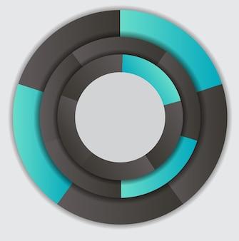 Conceito de banners circulares coloridos com setas para diferentes projetos de negócios