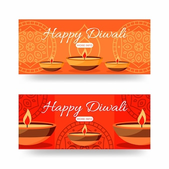 Conceito de banners de diwali feliz