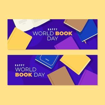 Conceito de banners do dia mundial do livro design plano