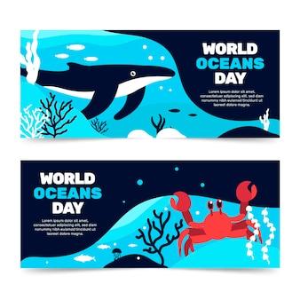 Conceito de banners do dia mundial dos oceanos