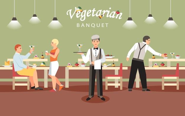 Conceito de banquete vegetariano.