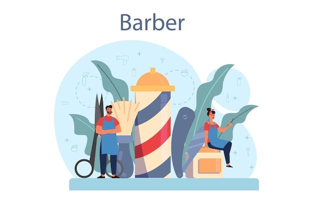 Conceito de barbeiro. idéia de cuidados com o cabelo e a barba