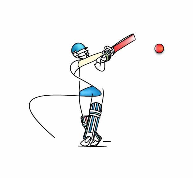 Conceito de batedor jogando críquete - campeonato, design de arte de linha ilustração vetorial.