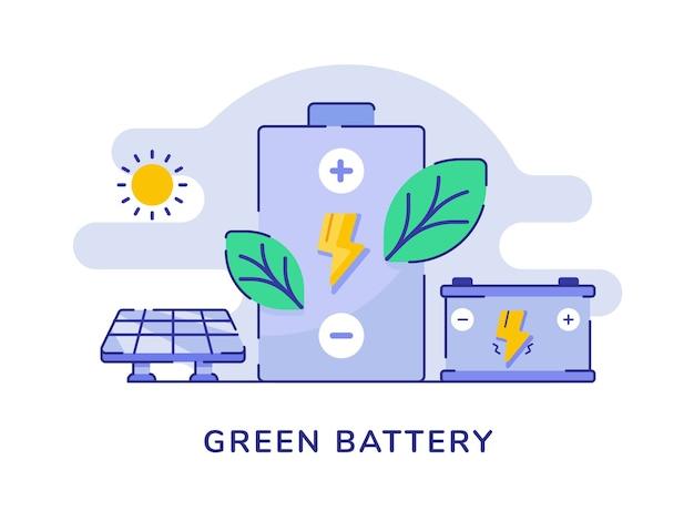 Conceito de bateria verde folha relâmpago bateria carro solar